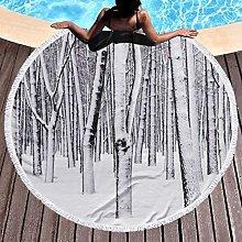 Tree Printed Round Beach Towel Yoga Picnic Mat