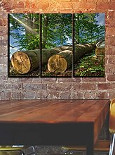 Tree Trunks In Spring Canvas Print Wall Art