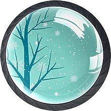 Tree with Snow Cabinet Drawer Pulls Drawer Knob