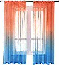 Tree2018 Gradient Sheer Curtains - Blackout Window