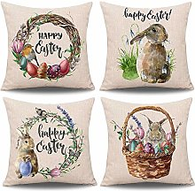 Treer Easter Pillow Case 4 PCS 45x45 Linen