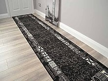 Trend Black Grey Border Design Rug. Available in 8