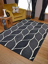 Trend Grey Leaf Design Rug. Available in 8 Sizes