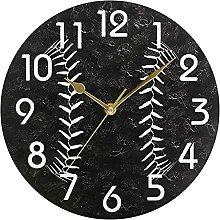 Trendy Baseball Round Wall Clock, Battery Operated
