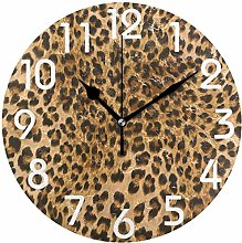 Trendy Lifelike Leopard Print Round Wall Clock,