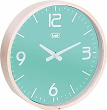 Trevi Turquoise Round Wall Clock with Wooden