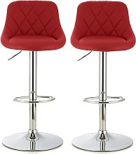 Trezzo Modern Bar Stool In Red Faux Leather In A