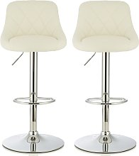 Trezzo Modern Bar Stool In White Faux Leather In A