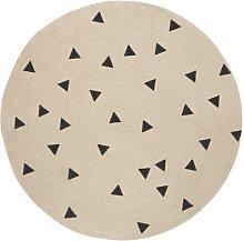 Triangles Rug - / Ø 100 cm by Ferm Living Black