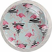 Triangular Red Flamingo White Drawer Handles