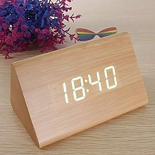 - Triangular Wooden LED Alarm Clock Wood Digital