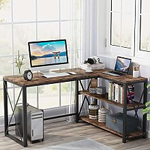Tribesigns computer desk, corner desk with metal