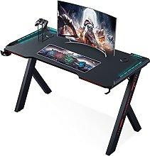 Tribesigns Gaming Desk for PC with LED Lights, Cup