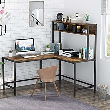 Tribesigns L-Shaped Desk with Hutch, Workstation,