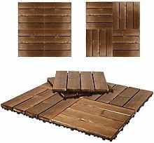 Triclicks 9 pcs Wooden Decking Tiles, Hardwood