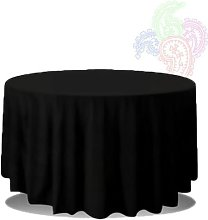 Trimming Shop Black Round Tablecloth with Linen