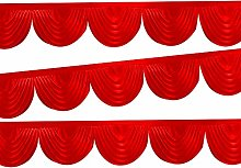 Trimming Shop Curtain Swag Red Ice Silk Detachable