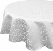 Trimming Shop White Round Damask Table Cloth with