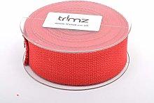 Trimz Webbing, Cotton, Red, 5m x 40mm