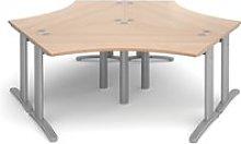 Trinity Three Desk Cluster, Silver/Beech