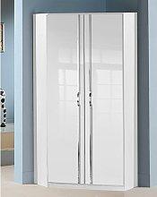 Trio Wooden Corner Wardrobe In High Gloss White