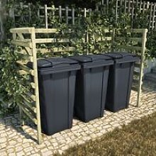 Triple Bin Shed Green 210x80x150 cm Impregnated