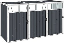 Triple Garbage Bin Shed Anthracite 213x81x121 cm