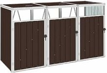 Triple Garbage Bin Shed Brown 213x81x121 cm Steel