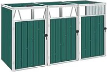 Triple Garbage Bin Shed Green 213x81x121 cm Steel