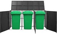 Triple Wheelie Bin Shed Black 229x78x120 cm Poly