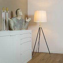 Tripod floor lamp black with cream shade