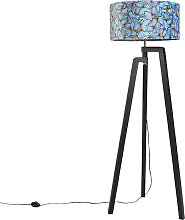 Tripod floor lamp black with shade butterfly