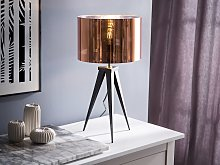 Tripod Table Lamp Copper with Black Base Drum