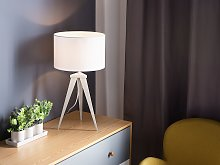 Tripod Table Lamp White Drum Shade Industrial