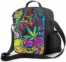 Trippy Weed Leaf Upgrade Lunch Tote Box, Cool