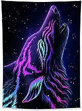 Trippy Wolf Tapestry Wall Hanging Psychedelic