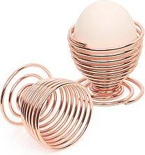 TRIXES 2 x Rose Gold Egg Cups - Spiral Spring
