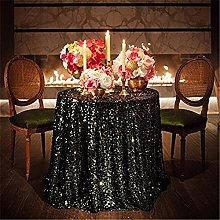 "TRLYC 120"" Round Black Christmas Sequin Table"
