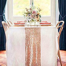 TRLYC 12x108-inch Rose Gold Sequin Table Runner
