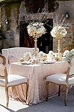 TRLYC 150cmx260cm Christmas Champagne Sequin Table