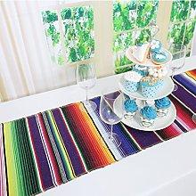 TRLYC 2pcs 14x84 Serape Colorful Rainbow Mexican