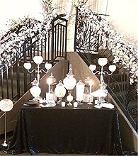 "TRLYC 50""*85"" Black Wedding Sequin Table"