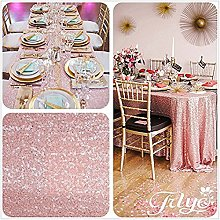 "TRLYC 50""*85"" Blush Pink Sequin Table"