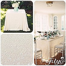 "TRLYC 50""*85"" Ivory Sequin Table Cloth for"