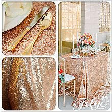 "TRLYC 50""*85"" Rose Gold Sequin Table Cloth"