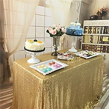 "TRLYC 60""*72"" Gold Sequin Table Cloth"
