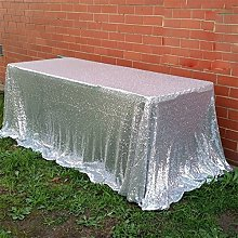 "TRLYC 60"" x 120"" Silver Sequin Tablecloth"