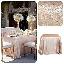 TRLYC 60x102in Christmas Champagne Sequin Table