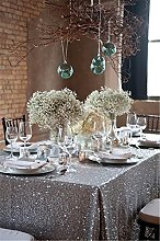 TRLYC 60x102in Christmas Silver Sequin Table Cloth