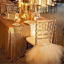 TRLYC 60x120inch Christmas Gold Sequin Table Cloth
